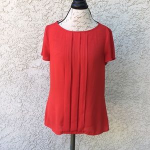 LOFT Sexy Red Pleat Career Sheer Blouse Shirt